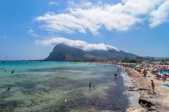Beach and Mediterranean sea in San Vito Lo Capo, Sicily, Italy Stock Images