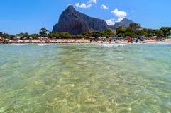 Beach and Mediterranean sea in San Vito Lo Capo, Sicily, Italy Stock Photo