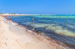 Beach and Mediterranean sea in San Vito Lo Capo, Sicily, Italy Stock Photography