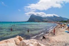 Beach and Mediterranean sea in San Vito Lo Capo, Sicily, Italy Royalty Free Stock Photography