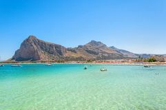 Beach and Mediterranean sea in San Vito Lo Capo, Sicily, Italy Royalty Free Stock Images