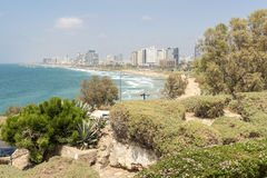 The beach and the Mediterranean seafront. View Tel Aviv Stock Images