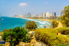 The beach and the Mediterranean seafront. View Tel Aviv Stock Photography
