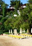 Beach on Mediterranean turkish resort Royalty Free Stock Images