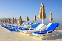 Beach on Mediterranean turkish resort Royalty Free Stock Photo