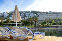 Beach on Mediterranean turkish resort Royalty Free Stock Photos