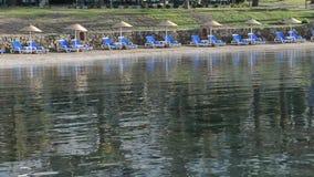 Beach on Mediterranean turkish resort. Bodrum, Turkey stock video