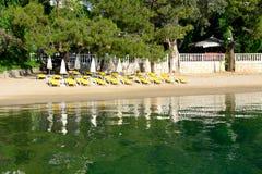 Beach on Mediterranean turkish resort Royalty Free Stock Photography