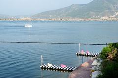 Beach on Mediterranean turkish resort Royalty Free Stock Image
