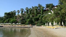 Beach on Mediterranean turkish resort. Fethiye, Turkey stock video