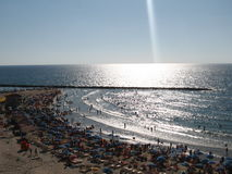 Israel Beach of Mediterranean sea.Sunny weather in Netany Stock Photography