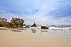 Beach of Meneham, Kerlouan, Brittany. Granite rocks at the beach of Meneham, Brittany, France Royalty Free Stock Photos