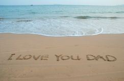 Beach Message. Love Message left in a surfy beach Royalty Free Stock Photo