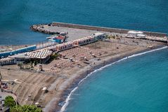 Beach by Meta village from Sorrento Peninsula. Italy Royalty Free Stock Photo