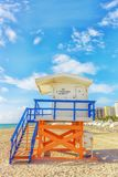 Colored lifesaving house on the beautiful beach of Miami royalty free stock images