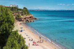 Beach Miami Platja with turquoise water, Catalunya, Spain, 19.06. Summer time on the coastline, beach Miami Platja, Spain, 19.06.2016 Stock Image