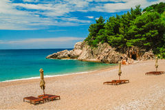 Beach at Milocer in Montenegro. Exclusive beach at Milocer in Montenegro Royalty Free Stock Photo