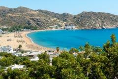 Beach in Milopotas, Ios island, Greece Royalty Free Stock Photos