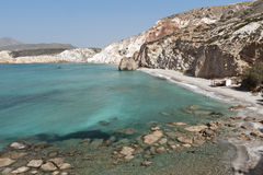 Beach at Milos island in Greece Stock Image