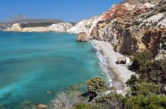 Beach at Milos island in Greece. Firiplaka beach at the island of Milos in Greece Stock Images