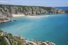 Beach and Minack Theatre at Porthcurno, Cornwall, England Stock Image