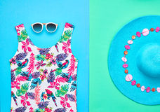 Beach minimal style. Summer hipster clothes set stock photo