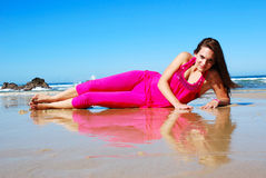 Beach model Royalty Free Stock Images