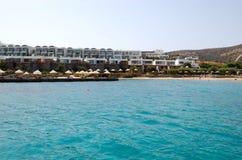 Beach of the modern luxury villas. Crete, Greece Stock Photos