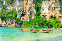 Beach with mogotes, long tail boat Krabi, Thailand Royalty Free Stock Photo