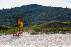 Beach Mole (praia Mole) in Florianopolis, Santa Catarina, Brazil. Beautiful blue water and sky in Beach Mole (praia Mole) in Florianopolis Royalty Free Stock Images