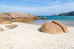 Beach Mole (praia Mole) in Florianopolis, Santa Catarina, Brazil. Beautiful blue water and sky in Beach Mole (praia Mole) in Florianopolis, Santa Catarina royalty free stock image