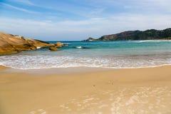 Beach Mole (praia Mole) in Florianopolis, Santa Catarina, Brazil. Beautiful blue water and sky in Beach Mole (praia Mole) in Florianopolis, Santa Catarina Royalty Free Stock Photos