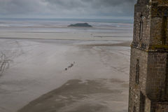 Beach in Mont Sain Michel Normandy Stock Images