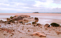 Beach of Mont Saint Michel Royalty Free Stock Photography