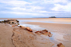 Beach of Mont Saint Michel Royalty Free Stock Photo