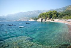 Beach in Montenegro. Beach in Sveti Stefan island, montenegro royalty free stock images