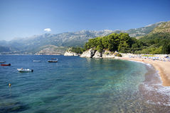 Beach in Montenegro. View of a private beach in Sveti Stefan royalty free stock image