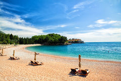 Beach at Montenegro. Elite sea beach at montenegro, with chairs along it Stock Photo