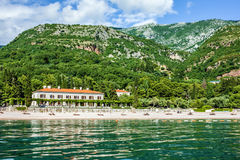 Beach in Montenegro - hotel in the Queens' beach, Budva. Royalty Free Stock Image
