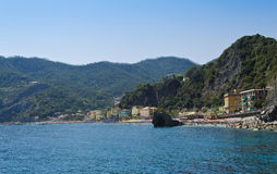 Beach of Monterosso - Italy. Beautiful sea of the beach of Monterosso al Mare, one of the Cinque Terre in Liguria Stock Photo
