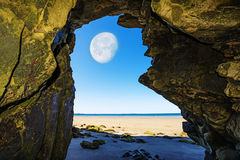 A beach and Moon Stock Photography