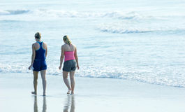 Beach morning. Time at the beach with a friend royalty free stock photo