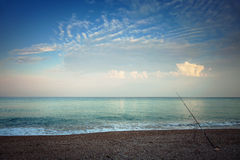 Beach in the morning, fishing Stock Image