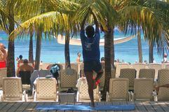 Beach morning on Roatan Bay Islands Honduras beautifull woman Stock Photos