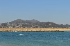 Beach Morro Bay California. Morro Bay, California beach on a cloudless day Stock Photos