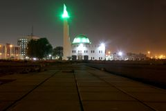 The Beach Mosque nearby Balad Shopping area at night in Jeddah, Saudi Arabia. The Beach Mosque nearby Balad at night in Jeddah, Saudi Arabia Royalty Free Stock Photo