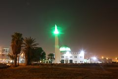 The Beach Mosque nearby Balad Shopping area at night in Jeddah, Saudi Arabia. The Beach Mosque nearby Balad at night in Jeddah, Saudi Arabia Stock Image