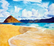 Painting of Seascape beach ocean and mountain Royalty Free Stock Photo