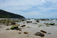 Beach, Mountain and blue sky Royalty Free Stock Photos