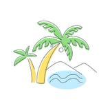Beach, Mountain And Palm Trees Stock Photos